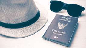 Hat sunglasses and passport vintage style Stock Images