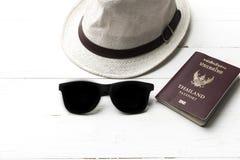 Hat sunglasses and passport Royalty Free Stock Photo