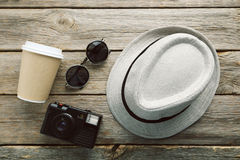Hat with sunglasses Royalty Free Stock Image