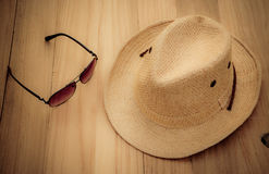 Hat and sunglasses Stock Image