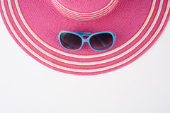 Hat and sunglasses on white background.Summer holiday back Royalty Free Stock Photography