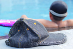 Hat on the swimming pool Royalty Free Stock Photo