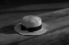 Hat on the Table. Panama style hat on the wooden table Stock Image