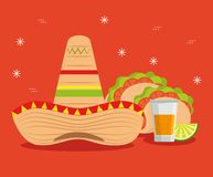 Hat with tacos and tequila to mexico event stock illustration
