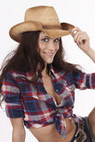 Western Woman Tips Hat to Viewer stock photos