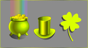 A hat, a treasure and a lucky charm. Saint Patrick`s Day cultural symbols: green leprechaun`s magical cauldron, filled with golden coins to the brim, with Royalty Free Stock Images
