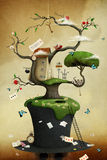 Hat and Tree. Conceptual illustration of tree with hat and fabulous and fancy objects. Computer graphics Royalty Free Stock Image