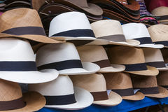Hat. Typical Ecuadorian hats panama hat called one over another Stock Photo