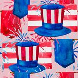 Politics of the USA and Presidents` Day, Washington`s Birthday and Independence Day - depicted in one pattern. Hat of Uncle Sam, flags and fireworks, all in the royalty free illustration