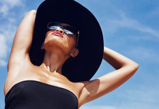In hat under sunlight Royalty Free Stock Images