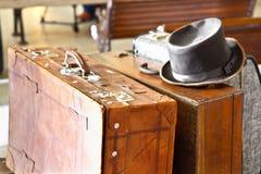 Hat and valises. Luggage of travelers at Haydarpasa Train Station, Istanbul Royalty Free Stock Photo