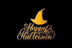 Hat vector illustration with Happy Halloween lettering. All Saints Eve background. Festive card design Stock Image