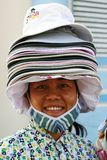 Hat Vendor. Selling in the Mekong Delta city of My Tho, Vietnam Royalty Free Stock Photo