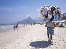 Hat Vendor Ipanema Beach Rio de Janeiro Skyline Royalty Free Stock Image