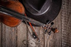 Hat and violin Stock Photo