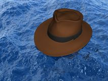 Hat on the water. 3D hat on the water - lost adventurer conceptual image Royalty Free Stock Images
