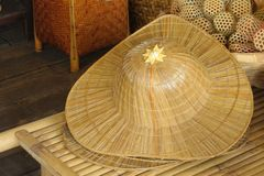 Hat wicker is Thai handmade at local market. Stock Photos