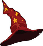 Hat of the wizard. Cartoon. Red old hat of the wizard with stars Stock Images