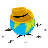 Hat on world globe. Top hat on a world globe with navigational compass background Stock Images