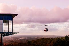 Hat Yai city view at sunset in summer from Hat Yai public park cable car ropeway, Songkhla. Thailand royalty free stock photography