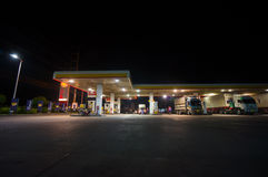 Hat Yai, 02 july 2014: Shell gas station at night in Hat Yai, Ha Royalty Free Stock Image