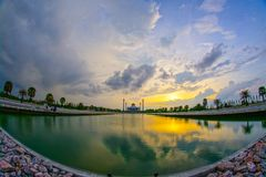 Beautiful sunset view of Songkhla Central Mosque. Hat Yai, Songkhla, Thailand – 1 May 2018: Beautiful sunset view of Songkhla Central Mosque or Masjid Songkhla Stock Images