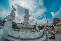 The 20 metres high white jade statue of Kuan Yin, Goddess of Compassion & Mercy. Hat Yai, Thailand – 1 May 2018: The 20 metres high white jade statue of Kuan Royalty Free Stock Photos