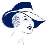 Hat young women portrait. Retro young women portrait with hat stock illustration