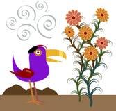 Hatbird observe des fleurs Photo libre de droits