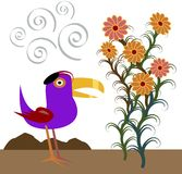 Hatbird Reviews Flowers. Whimsical vector illustration (jpg available too) of purple bird wearing black tam as he admires a stand of flowers Royalty Free Stock Photo