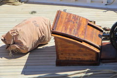 Hatch on the deck of a sailboat Royalty Free Stock Photo