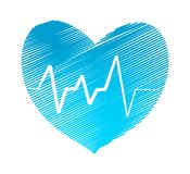 Hatch heart with pulse symbol stock vector illustration design. Eps 10 Royalty Free Stock Photos