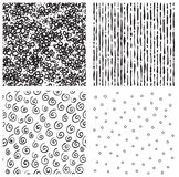 Endless Hatch  patterns. Set of vector seamless  backgrounds with hatch, circle, spiral Stock Photos