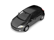 Hatchback black car top view. Modern compact city auto illustration on white background. For more colors and views of this car please check my portfolio vector illustration