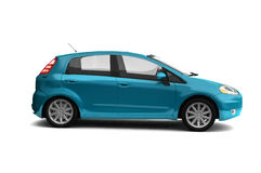 Hatchback blue car side view. Bright new city car realistic 3D illustration on white background. For more colors and views of this car please check my portfolio Royalty Free Stock Photo