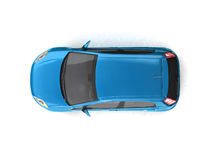 Hatchback blue car top view Royalty Free Stock Image