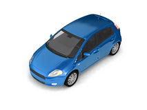 Hatchback blue car top view. 3d realistic illustration of a modern compact car on white background. For more of this car and other models please check my Stock Photo