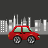 Hatchback car city background design Stock Image