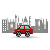 Hatchback car city background design Royalty Free Stock Photos