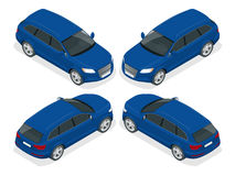 Hatchback car. Flat 3d vector isometric illustration. High quality city transport icon. Stock Image