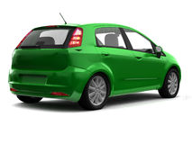 Hatchback green car back view Royalty Free Stock Image