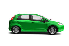 Hatchback green car side view Royalty Free Stock Images