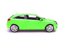 Hatchback green car side view Royalty Free Stock Photo