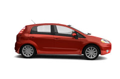 Hatchback red car side view Royalty Free Stock Images