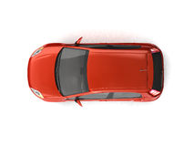 Hatchback red car top view