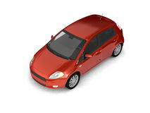 Hatchback red car top view Stock Photography