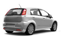 Hatchback silver car back view Stock Images