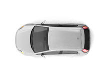 Hatchback silver car top view Stock Photo