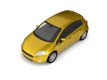 Hatchback yellow car top view Stock Photos