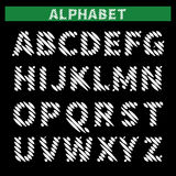 Hatched alphabet. Sketch white latin font on black background. Hatched characters. Vector illustration Royalty Free Stock Images